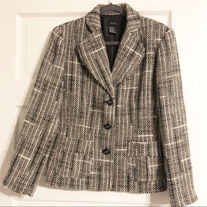 RQT Grey/White/Slate Blue Tweed Blazer - Size 12